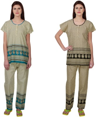Simrit Women's Printed Blue, Black Top & Pyjama Set