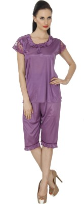 Ignis Women's Solid Purple Top & Capri Set