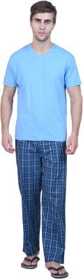 Habitude Men's Solid, Checkered Light Blue Top & Pyjama Set