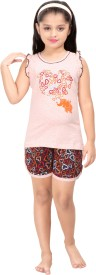 Red Ring Kids Nightwear Girls Printed Cotton(Pink)