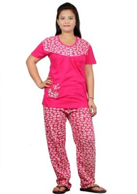 UNO COTTON Women's Printed Red Top & Pyjama Set