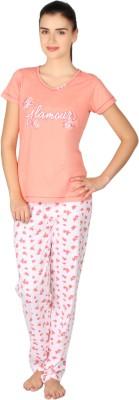 Lazy Dazy Women's Printed Black, Grey Top & Pyjama Set
