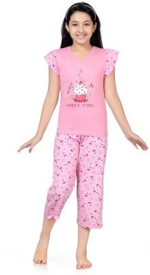 Kombee Girl's Printed Pink Top & Capri Set