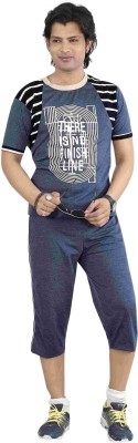 Premium Plus Men's Solid Dark Blue T-shirt & Three-forth Set