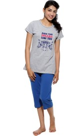 Threadz Women's Printed Grey, Blue Top & Capri Set
