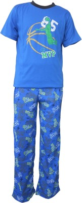 Sweet Dreams Men's Solid Blue Top & Pyjama Set