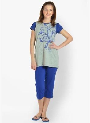 LLO Fashions Women's Printed Blue Top & Capri Set