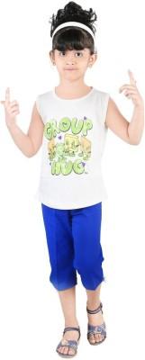 Bella & Brat Girl's Printed White, Blue Top & Shorts Set