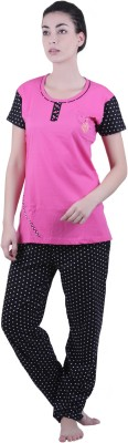 Vixenwrap Women's Polka Print Black, Pink Top & Pyjama Set