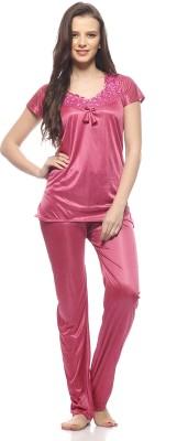 Ethnic Route Women,s Solid Pink Top & Pyjama Set