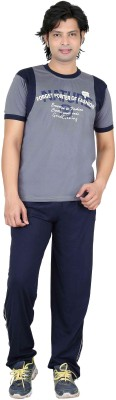 Premium Plus Men's Printed Light Blue, Dark Blue Top & Pyjama Set
