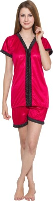 Kismat Fashion Women's Solid Red, Black Top & Shorts Set