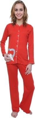 Wemei Women's Solid Red Top & Pyjama Set