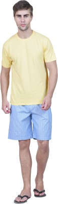 Habitude Men's Solid, Checkered Yellow Top & Shorts Set