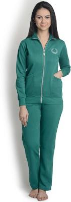 La Zoya Women's Solid Green Top & Pyjama Set