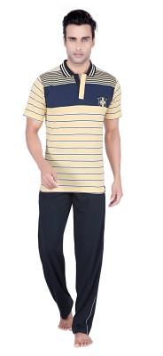 TATWAM Men's Striped Yellow Top & Pyjama Set