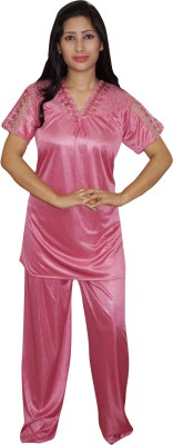 Indiatrendzs Women's Solid Pink Top & Pyjama Set