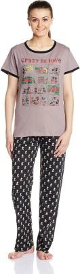 Disney by July Comfy Cotton Designer Two Piece Women's Printed Grey, Black Top & Pyjama Set