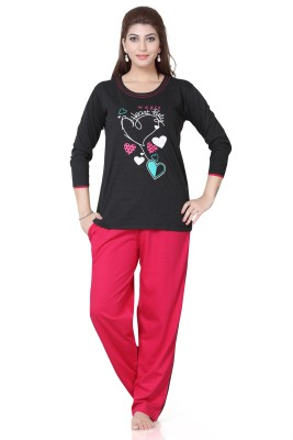 Sweet Night Women's Printed Multicolor Top & Pyjama Set