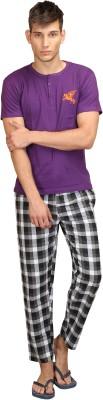 Right Shape Men's Woven, Checkered Purple Top & Pyjama Set