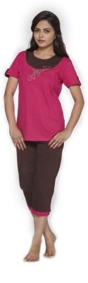 Melodie Women's Graphic Print Pink, Brown Top & Pyjama Set