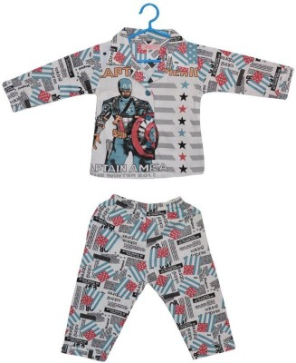 Baby Bucket Baby Boy's Printed Black Top & Pyjama Set