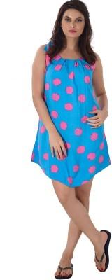 Shyle Women's Polka Print Blue Sleepshirt
