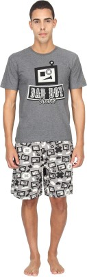 Nuteez Men's Printed Grey Top & Shorts Set