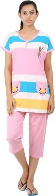 Informal Wear Women's Printed Pink Top & Pyjama Set