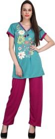 Crazeis Women's Printed Blue, Pink Top & Pyjama Set
