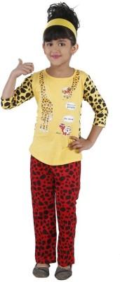 Bella & Brat Girl's Printed Yellow, Red Top & Pyjama Set