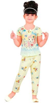 Chocoberry Strawberry Girl's Printed Multicolor Top & Pyjama Set