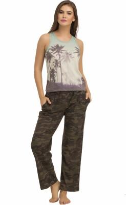 Clovia Women's Printed Green Top & Pyjama Set at flipkart