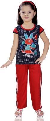 Mint Girl,s Printed Black, Red Top & Pyjama Set