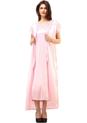 DesiHarem Women,s Solid Pink Top & Pyjama Set