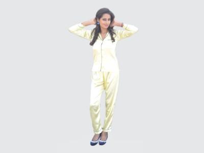 Miss-Me Women's Solid Gold Top & Pyjama Set