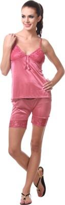 Affair Women's Solid Beige Top & Shorts Set