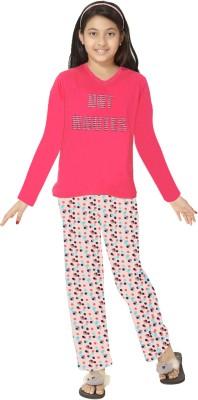 So Sweety Girl's Solid Red Top & Pyjama Set