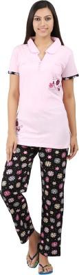 Informal Wear Women's Floral Print Pink Top & Pyjama Set