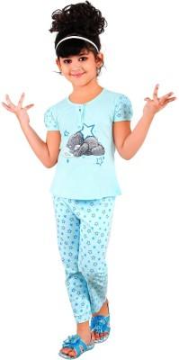 Chocoberry Rose Girl's Printed Light Blue Top & Pyjama Set