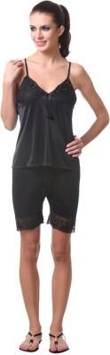 Affair Women's Solid Black Top & Shorts Set