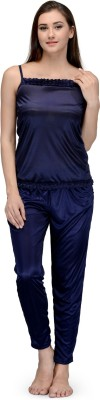 Being Fab Women,s Solid Blue Top & Pyjama Set