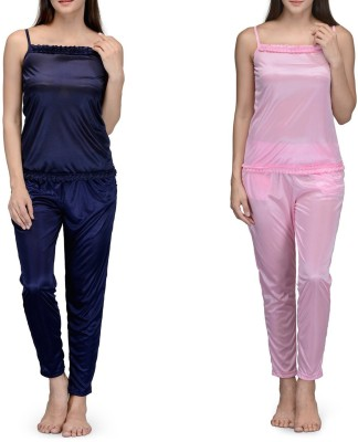 Meow Women's Solid Blue, Pink Top & Pyjama Set