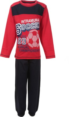 Pepito Boy's Printed Red Top & Pyjama Set