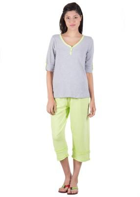 Serenity Women's Solid Grey, Green Top & Capri Set