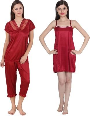 Ansh Fashion Wear Women's Solid Red Top & Pyjama Set at flipkart