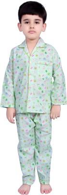 Kingstar Boy's Printed Light Green Top & Pyjama Set