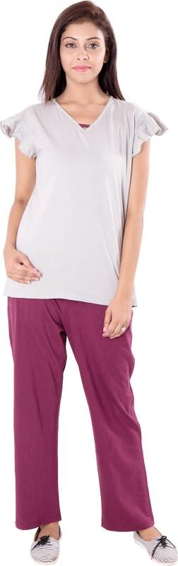 9teen Again Women's Solid White Top & Pyjama Set