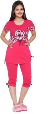 IN Love Women's Floral Print Pink Top & Capri Set