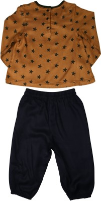 ShopperTree Baby Girl's Printed Orange Top & Pyjama Set